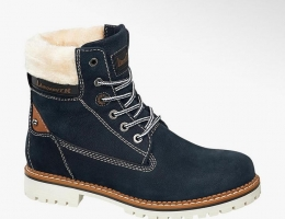 Кожаные зимние ботинки на шнуровке