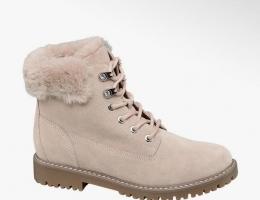 Теплые кожаные ботинки на шнуровке